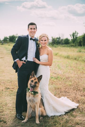 bride and groom portrait with dog 51 607832