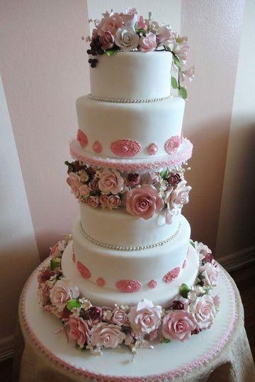 Pink and White Rose Wedding Cake - Brooklyn Bakery