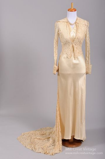 8aff884d404 1940 s Silk and Lace Vintage Wedding Ensemble Designed in the 40 s this  absolutely ...