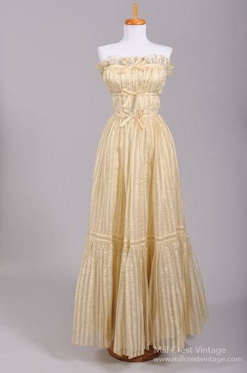 1960's French Peasant Style Vintage Wedding Gown   Designed in the 60's this fantastic French...