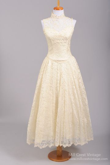 1970's Pearl Lace Vintage Wedding Dress   Designed in the 70's, this gorgeous 50's style vintage...