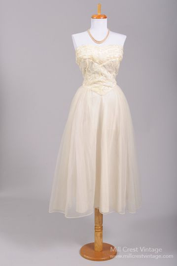 1950's Embroidered Sequin Vintage Wedding Dress   Designed in the 50's, this sweet vintage wedding...