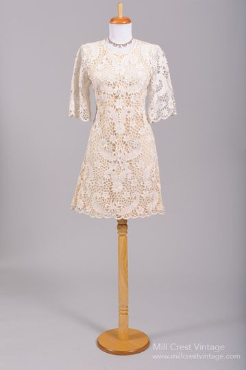 1960's Boho Lace Vintage Wedding Dress   Designed in the 60's, this fabulous scooter style vintage...