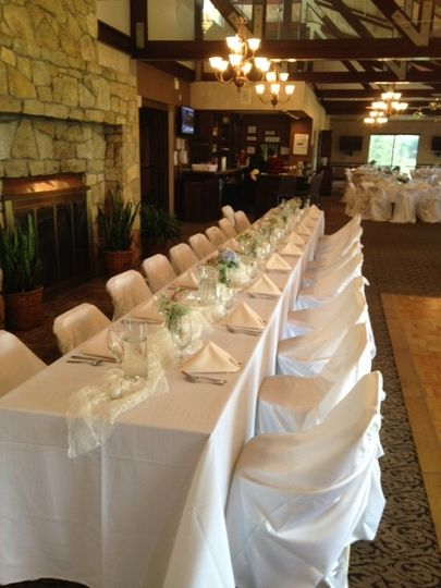 An elegant head table by the fireplace for a complete view of the venue.
