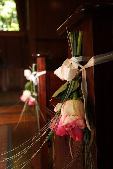 Floral pew decor