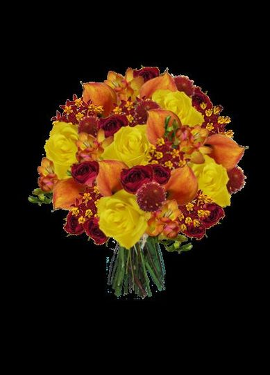 bold yellow orange and red bouquet