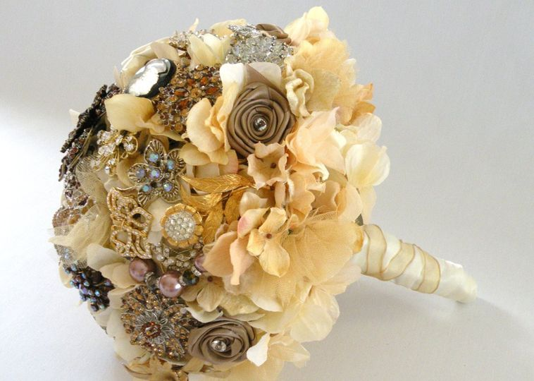 Glamourous brooch jeweled bouquet studded with rhinestone and crystal brooches, with silk hydrangea...