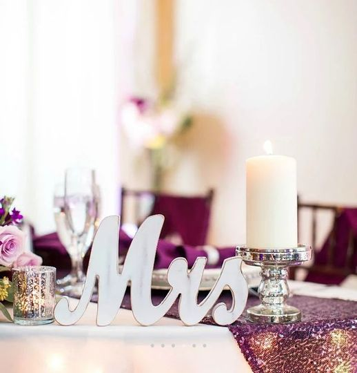 Decorated couple's table