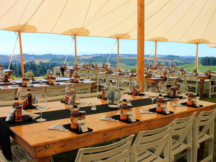 Tmx Seating Under The Big Tent 150 At Farm Tables 51 130042 Turner, OR wedding venue