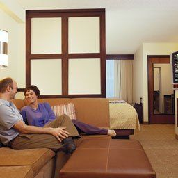 Our spacious guest room features contemporary decor with stylish furnishings including, divided...