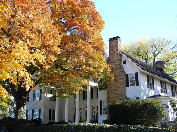 Inn exterior and autumn leaves