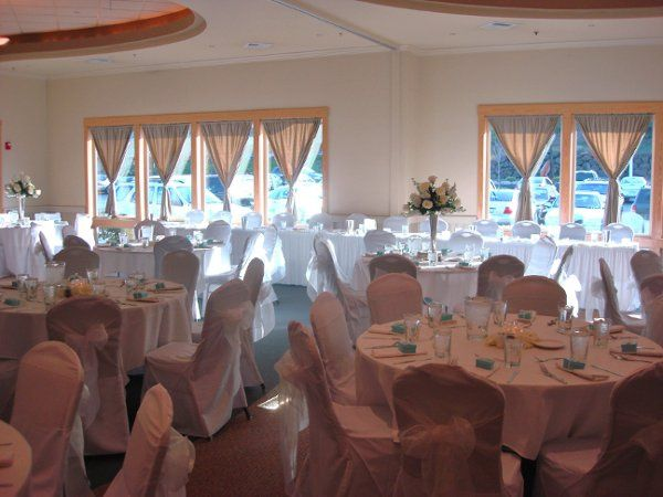Optional chair covers transform the room to bridal white.