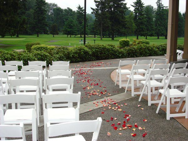 Our outdoor ceremony space on the golf course offers a covered pavilion area just in case the...