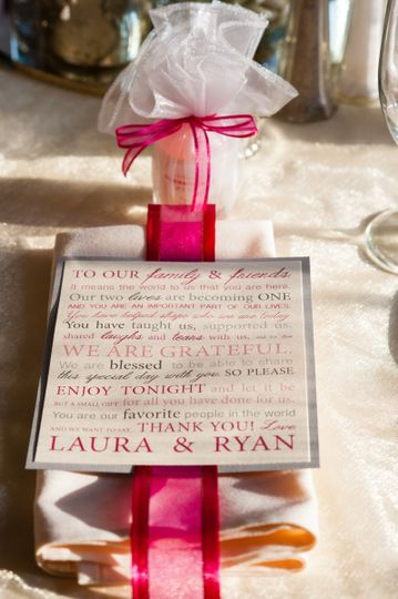 Favor and pink thank you note