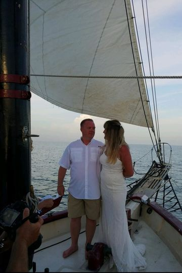 Newlyweds on the boat