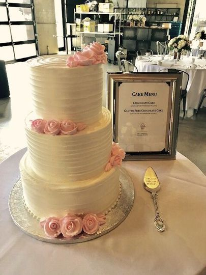 Anabelle Wedding Cake with Pink Buttercream Roses