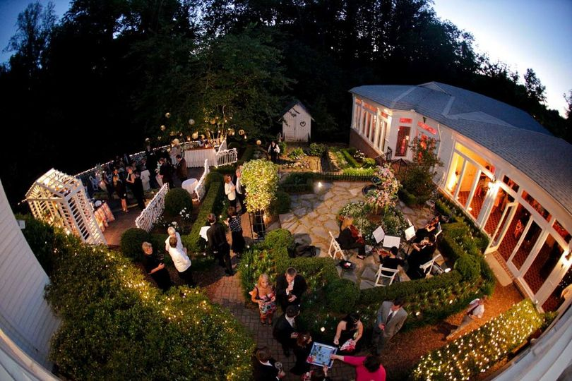 Aerial view of the wedding