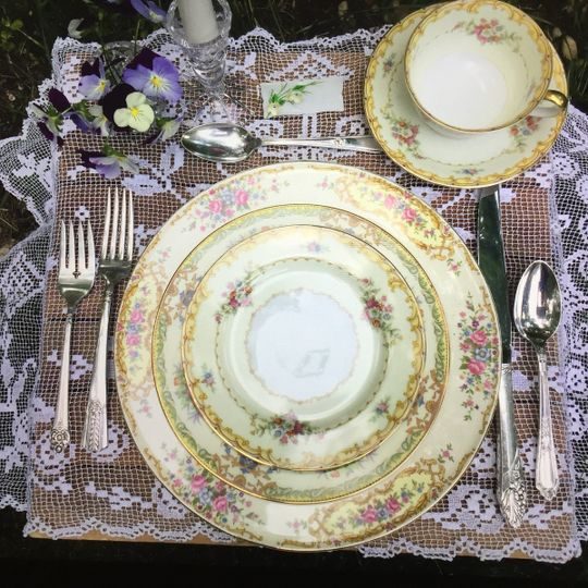 Mismatched vintage place setting