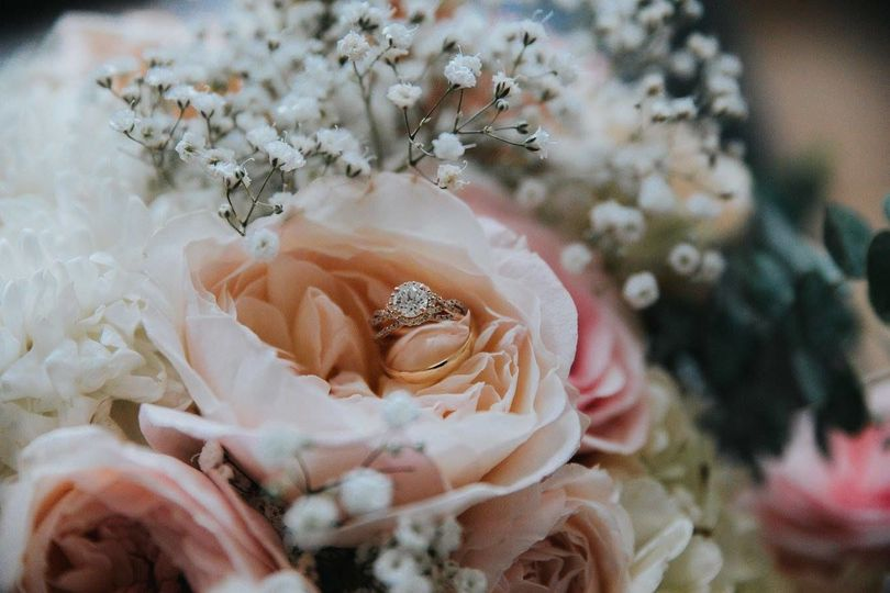 Bridal wedding ring on the bouquet