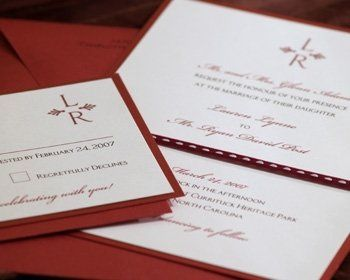 Tying the knot on Valentine's Day or Christmas? This beautiful red invitation compliments the color...