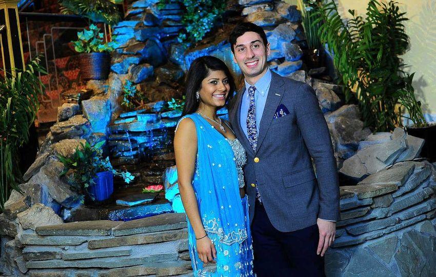 waterfall bride and groom queens wedding woodhaven