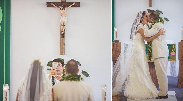 hawaiian catholic wedding mantilla veil
