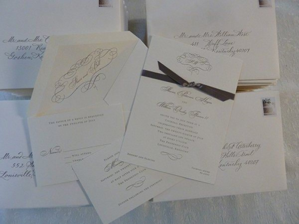 Invitation suite with color matched handlettered envelopes by Jan Hurst.