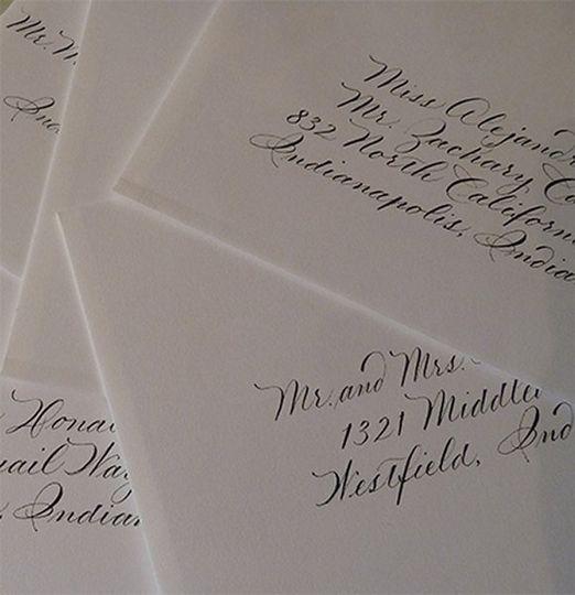 My traditional wedding script in black ink on white envelopes.  Jan Hurst