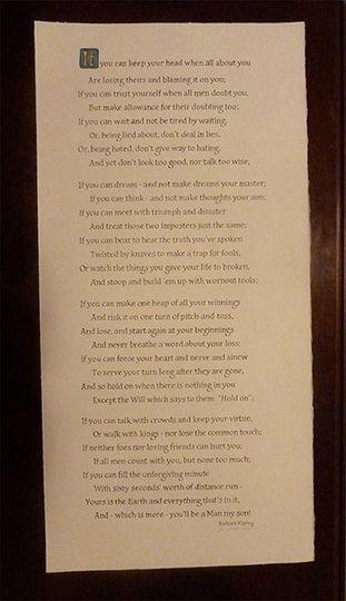 Popular poem, IF, hand lettered by Jan Hurst.