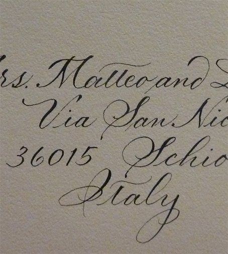 Close up of hand lettering on wedding envelope by Jan Hurst.