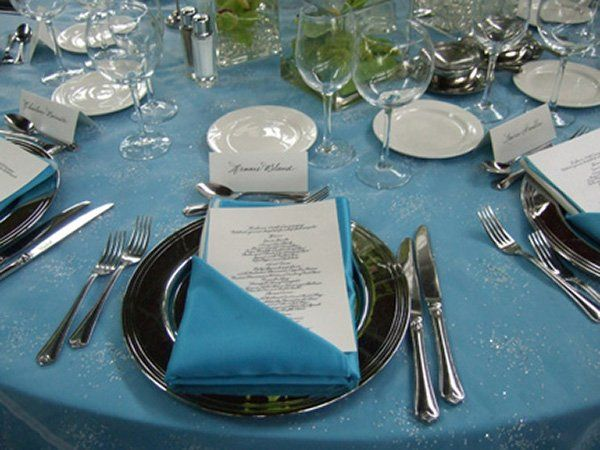 Corporate, personal or wedding place setting with menu card and place card by Jan Hurst.