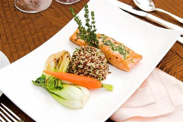 Garlic, Chili, and Basil Encrusted Atlantic Salmon, With Rainbow Quinoa, Braised Fennel and Baby...