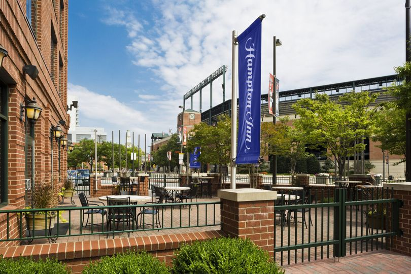 Our Outdoor Patio is directly across the street from Baltimore Orioles Camden Yards Baseball...