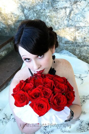 Red lip and red roses