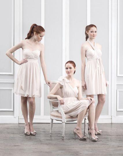 5bbe36d1de1 Jenny Yoo Convertible Keira Dress in Champagane Luxe Chiffon. 1 Dress worn  at least 16