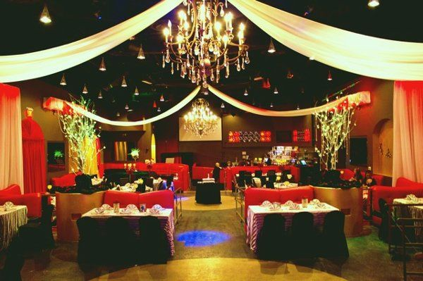 Front to back view of the venue. Set for a standard wedding reception