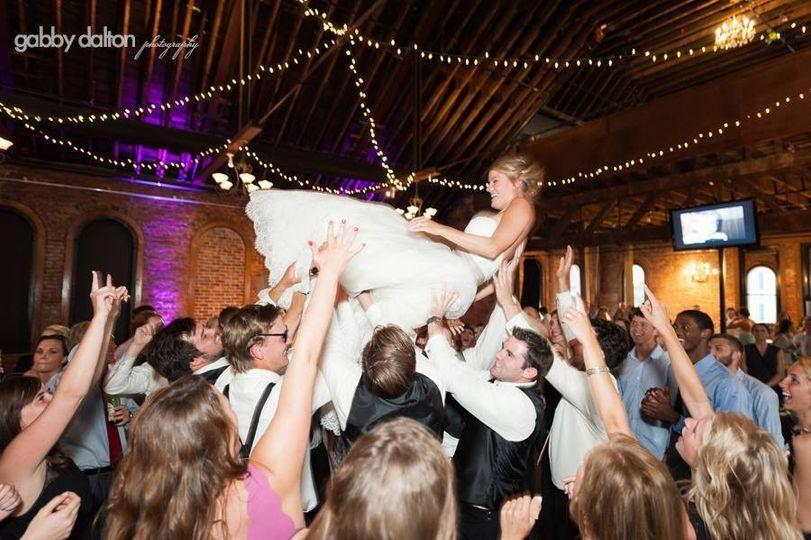 Bride crowd surfing