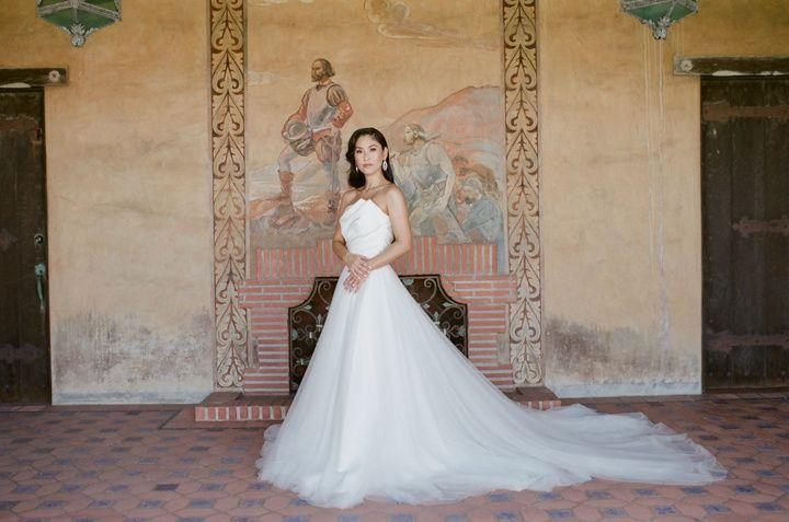 Bride in Tadashi Shoji gown