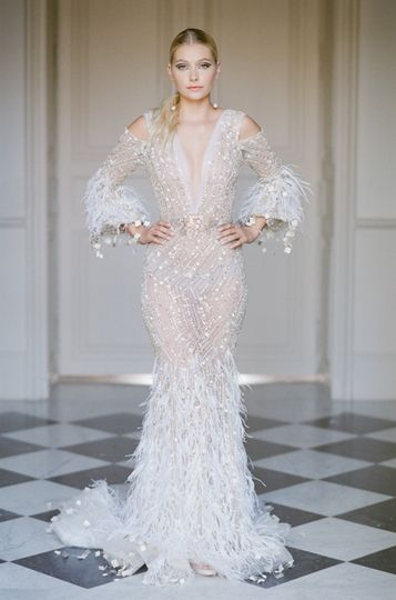 White feather Ziad Nakad gown