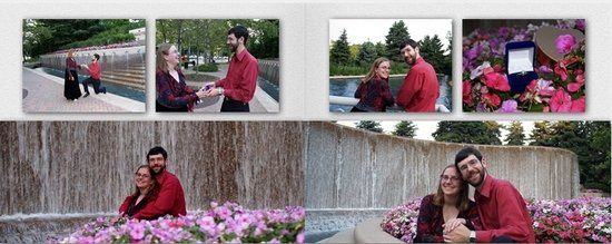 from the engagement photo shoot, a 2 page spread