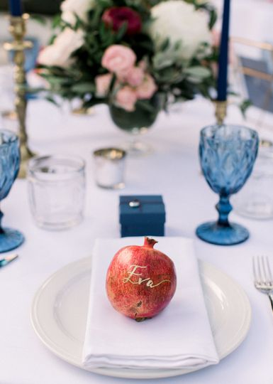 Blue themed table setting