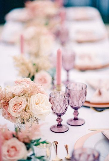 Pink themed table setting