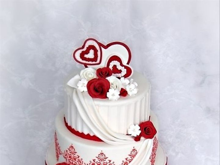 Tmx 1297269664429 Valentineweddingcakerosesdamaskdrapespleateshearts Warminster wedding cake