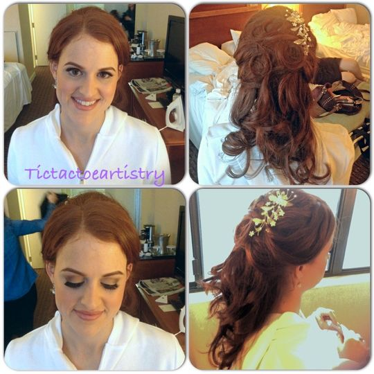 hair and makeup for Leora C.'s wedding