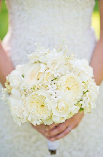 merion bridal bouquet gardenia and lily of valley