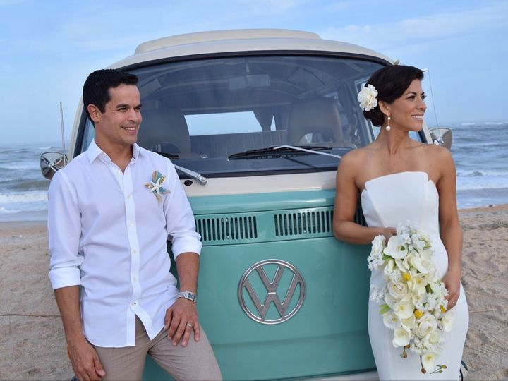 Beautiful beach wedding with soft airbrush makeup and a stunning updo
