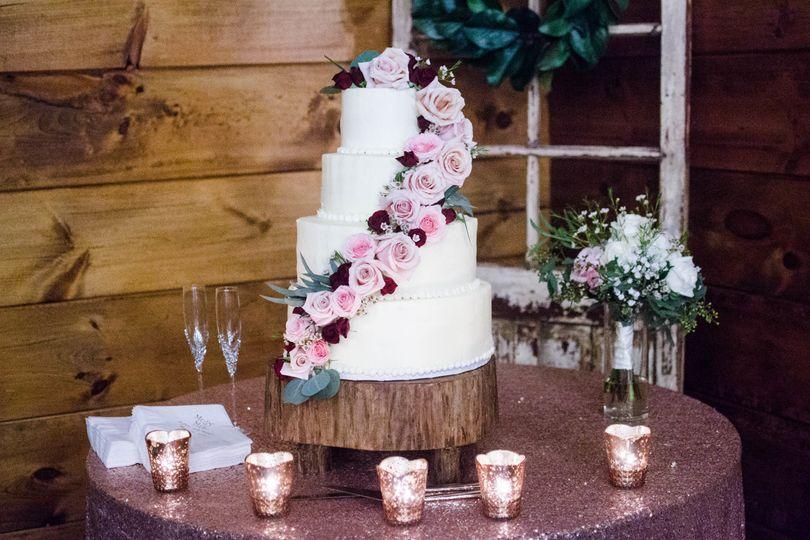 Pink flower 4-layer cake