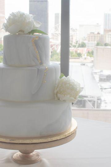 White on white marbled cake