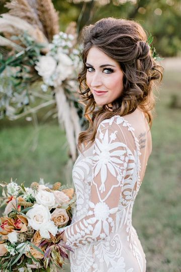 Boho bride makeup & hair