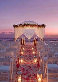 beach wedding reception night